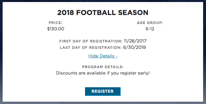 youth football online registration