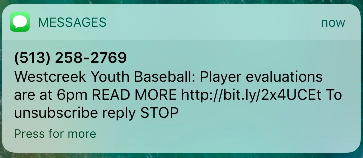 youth sports notification center