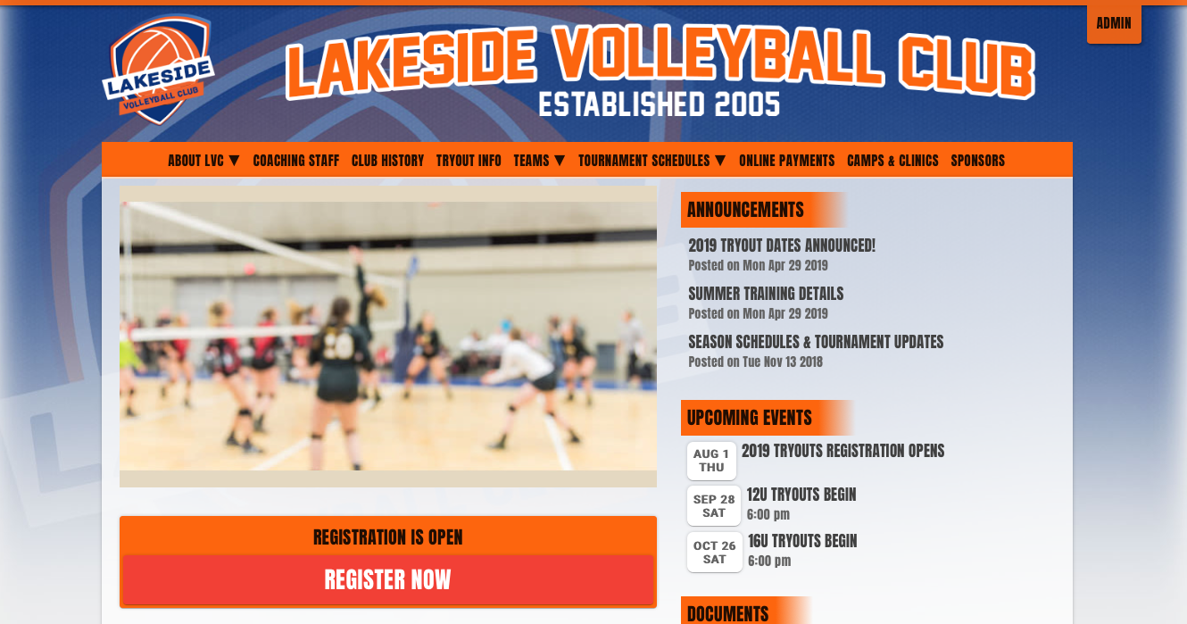a website for a volleyball club