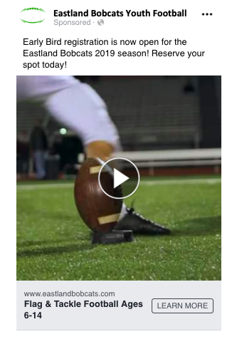 an example Facebook ad for a youth football program