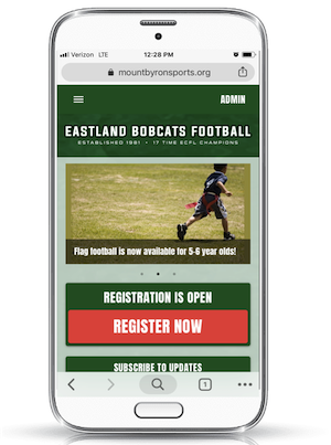 a youth football website on mobile