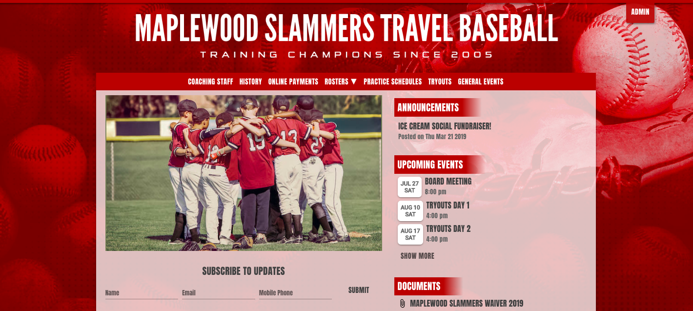 a website for a travel baseball team