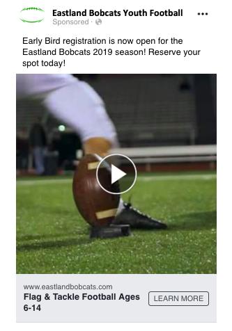 an online ad for a flag football program