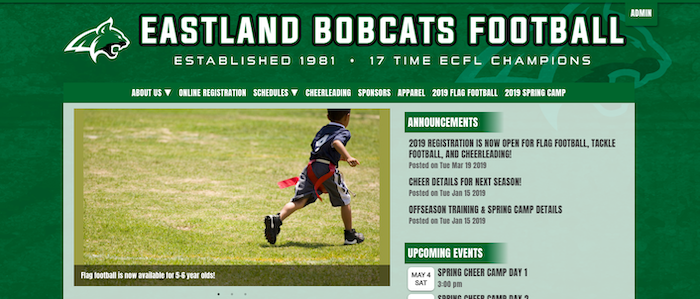 a website for a youth football program