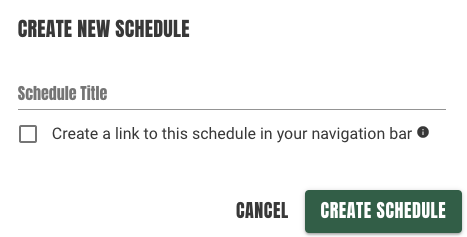 create schedule modal