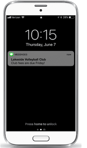 a message sent to a volleyball parent about payment due dates