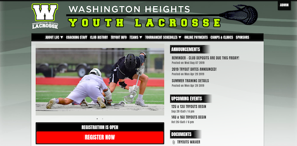 a website template for lacrosse clubs