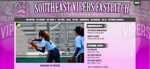 a website for a travel softball program